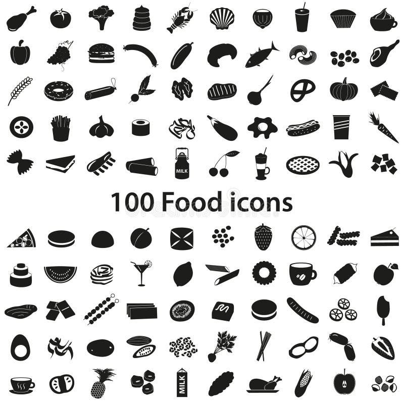 vários ícones pretos do alimento 100 e da bebida ajustados ilustração stock