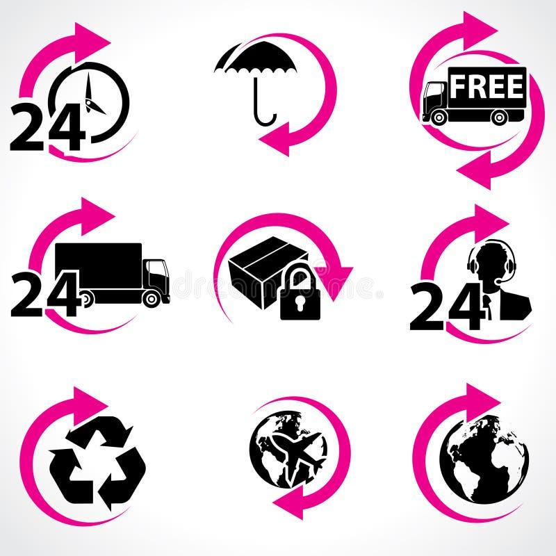 Vários ícones relacionados do porte postal e do apoio ilustração royalty free
