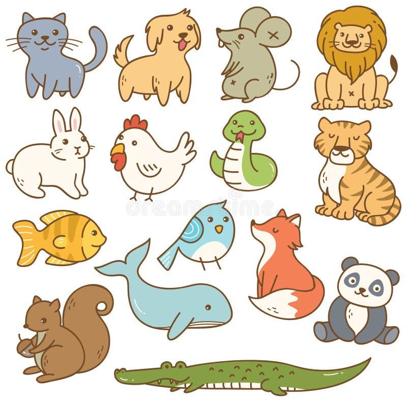 Vários animais dos desenhos animados ilustração royalty free