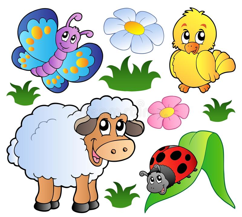 Vários animais felizes da mola ilustração royalty free