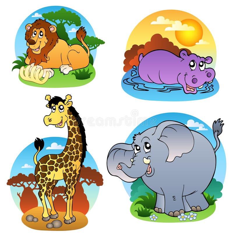 Vários animais tropicais 1 ilustração royalty free