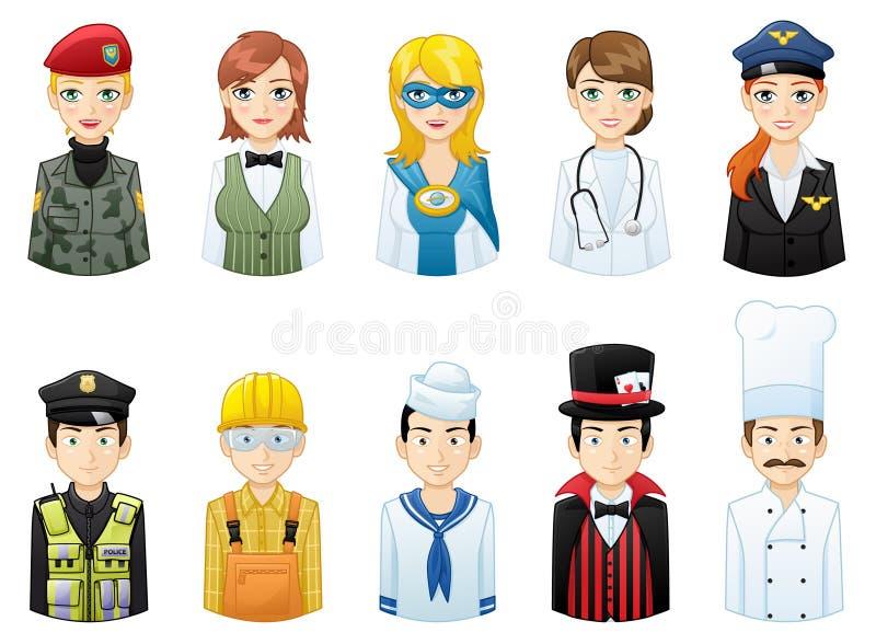 Vários Avatars das profissões ajustados ilustração stock
