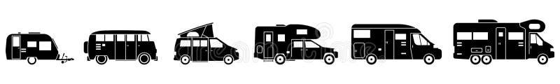 - Vários campistas em preto - ícones de acampamento ilustração royalty free