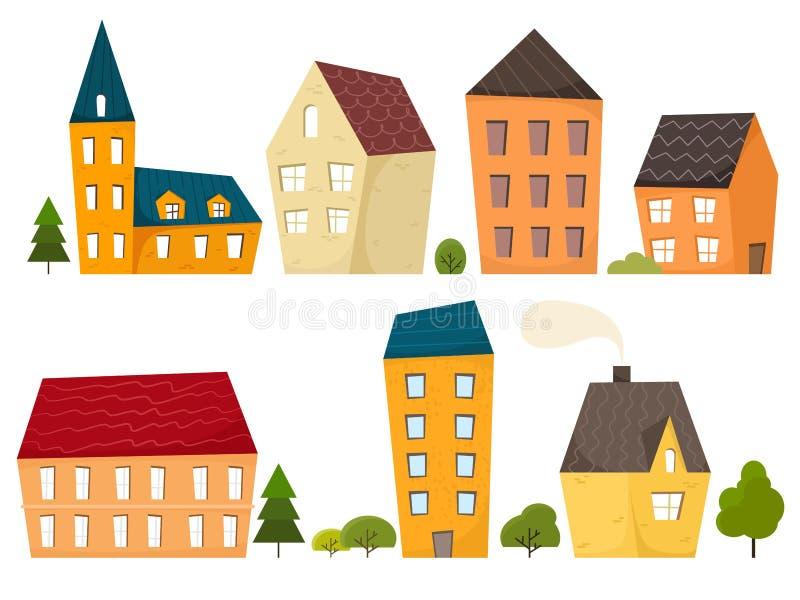 Vários casas, árvores e arbustos minúsculos pequenos Projeto liso Ilustração na moda tirada mão Ajuste dos isolados do vetor em u ilustração royalty free