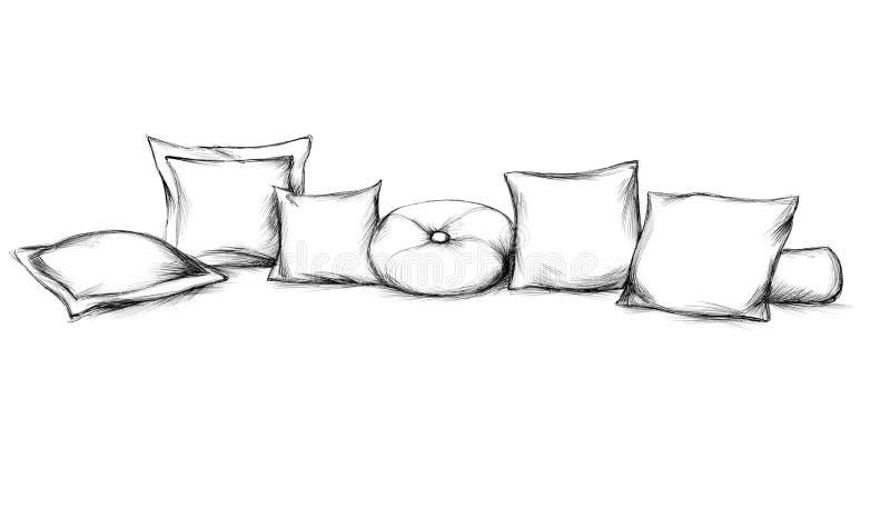 Vários coxins do sofá ilustração do vetor