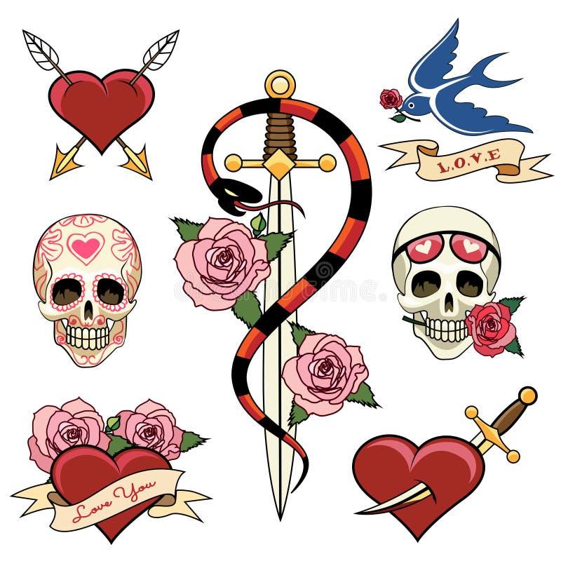 Vários crânio e Dagger Tattoo Graphics do coração ilustração royalty free