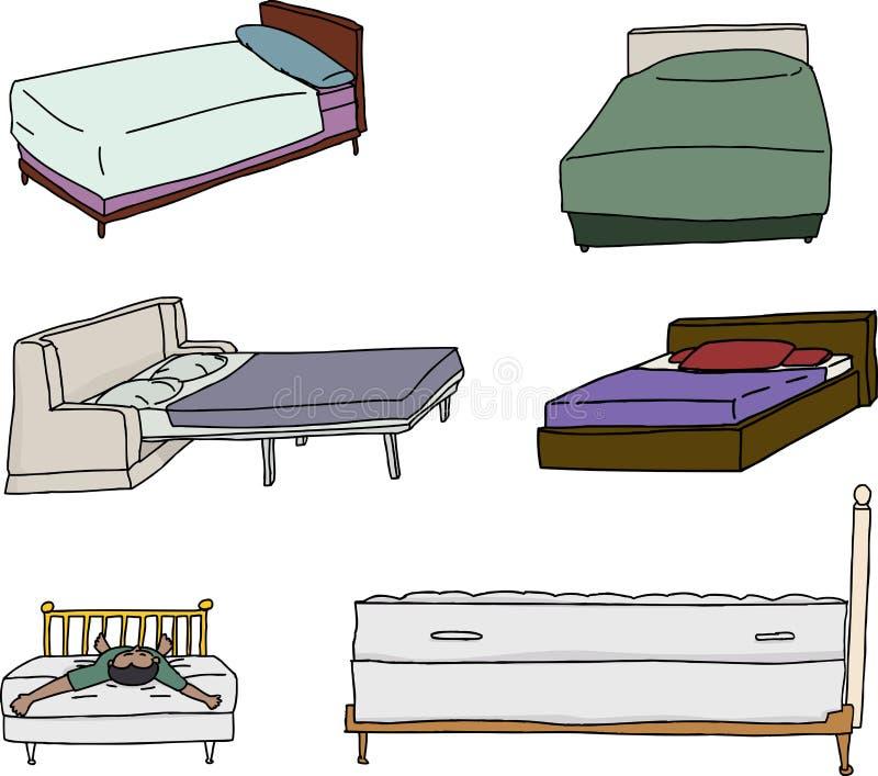 Vários desenhos animados da cama ilustração do vetor