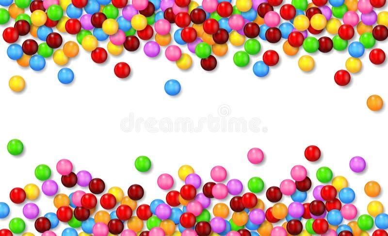 Vários doces doces no fundo branco ilustração royalty free