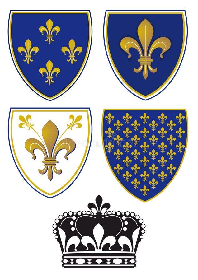 Escudos da flor de lis ilustração royalty free