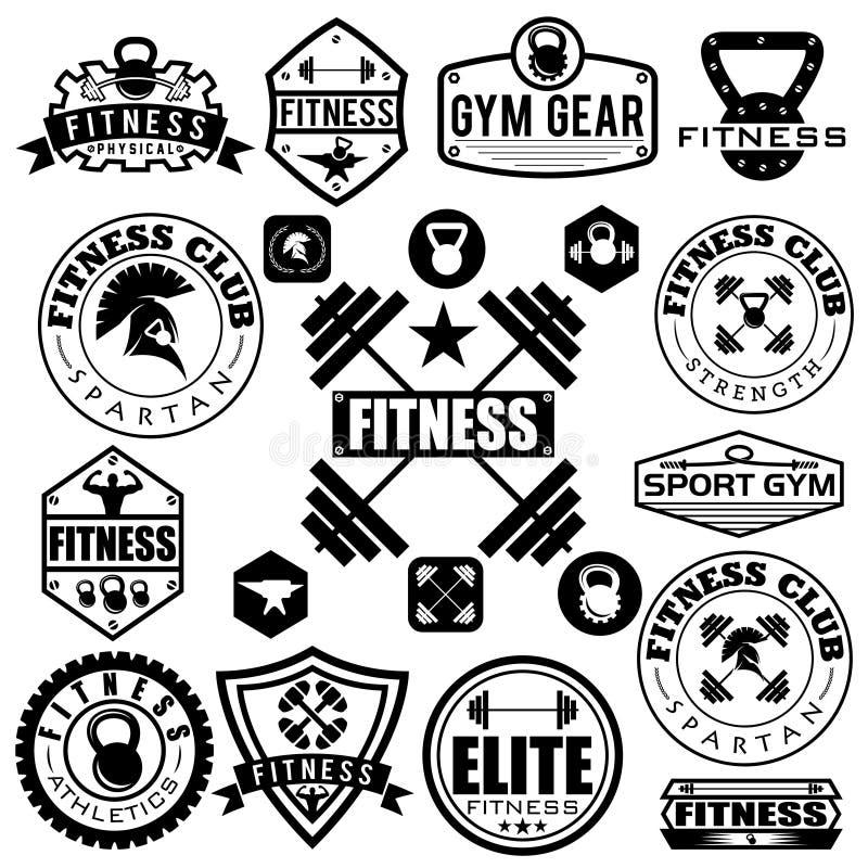 vários esportes e ícones da aptidão e elementos do projeto ilustração stock