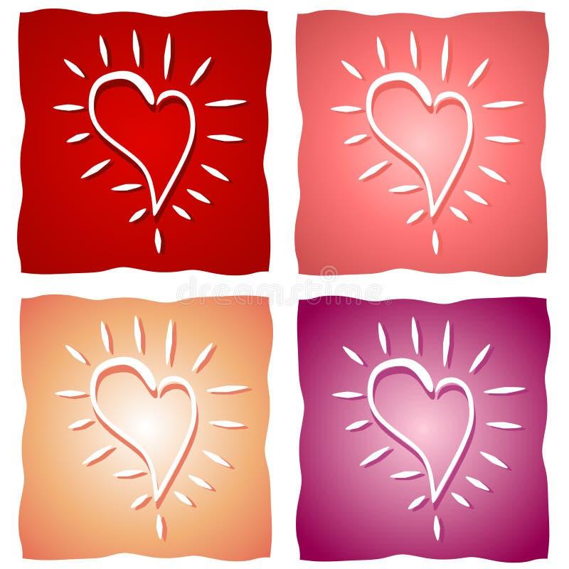 Vários fundos do coração do Valentim ilustração do vetor