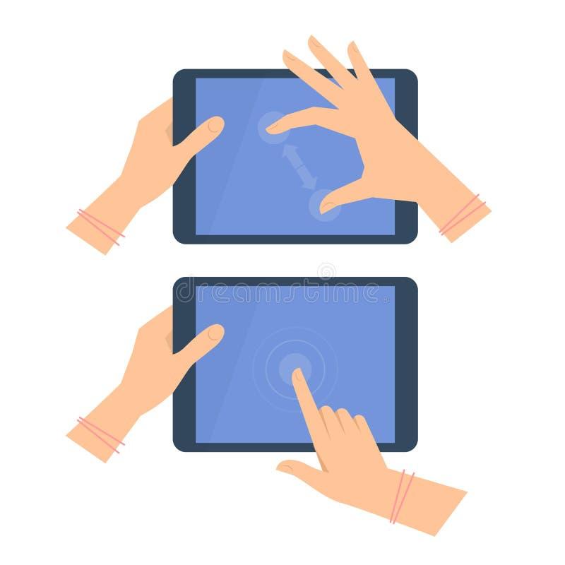 Vários gestos das mãos fêmeas com tela da tabuleta ilustração stock