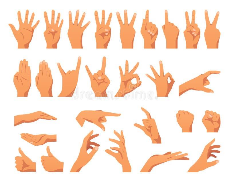 Vários gestos de mãos ilustração do vetor