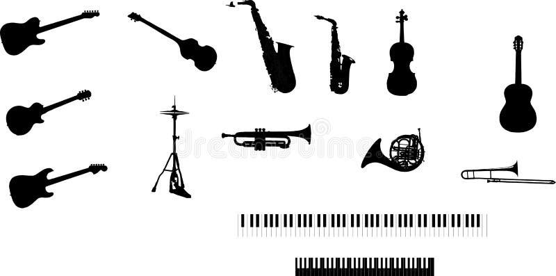 Vários instrumentos musicais ilustração royalty free