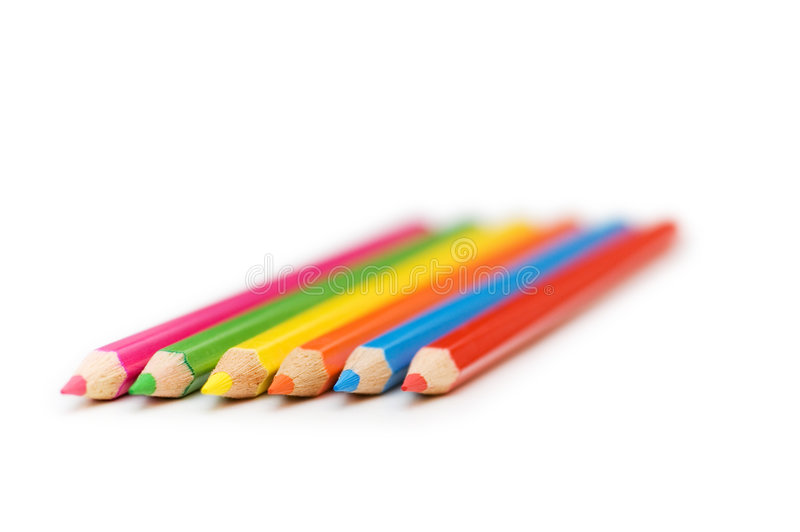 Vários lápis da cor isolados no branco fotos de stock royalty free