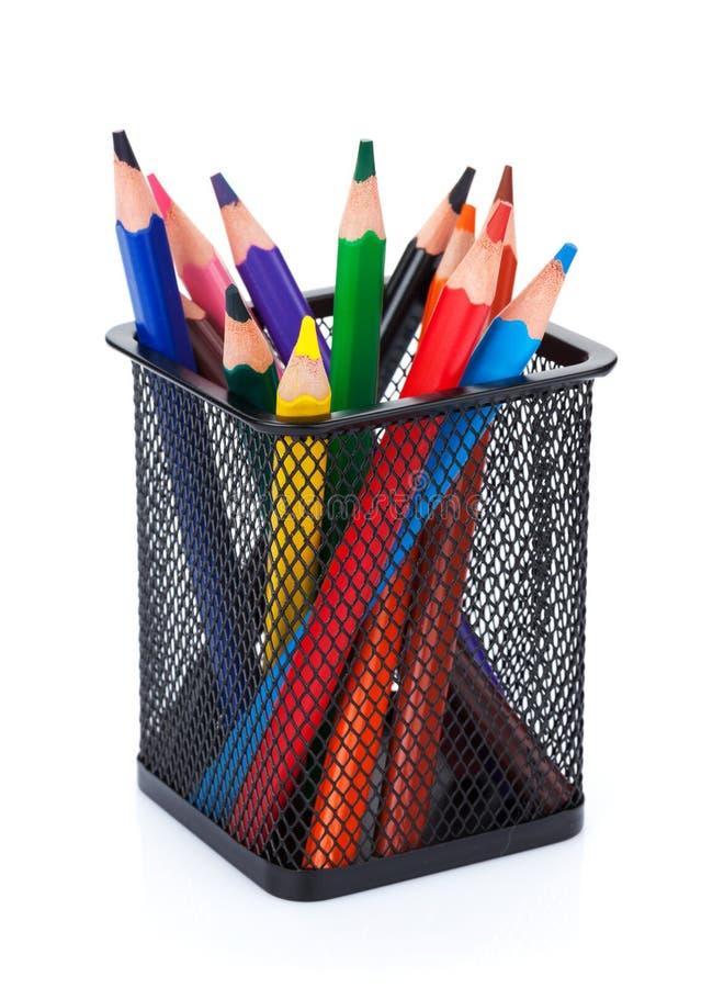 Vários lápis da cor no suporte imagem de stock royalty free