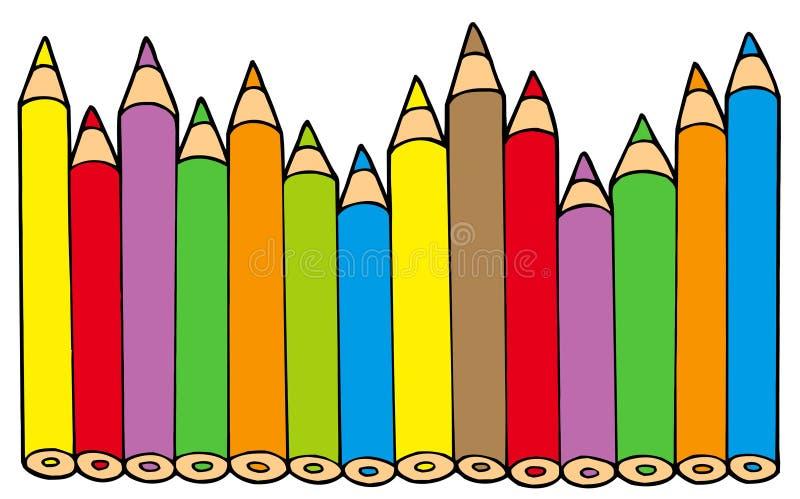 Vários lápis das cores ilustração do vetor
