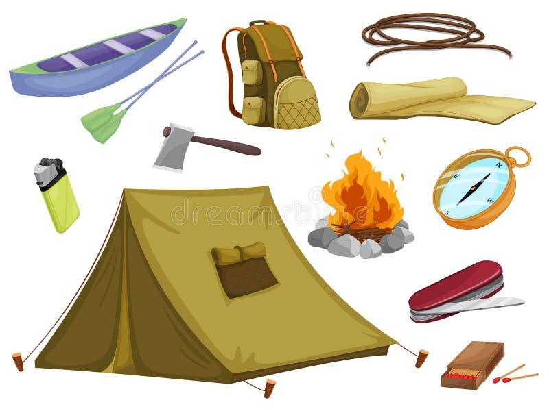 Vários objetos do acampamento ilustração stock
