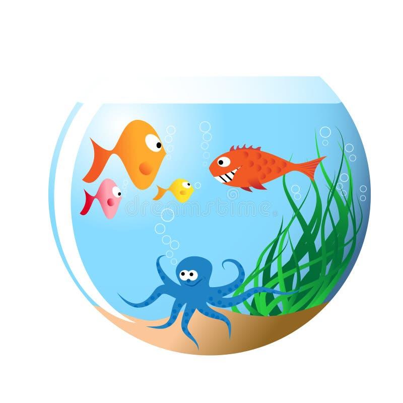 Vários peixes no aquário ilustração stock