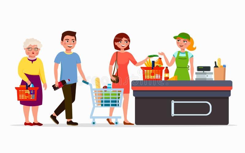 Vários povos lisos nos produtos de compra do supermercado na caixa com caixa bonito Homens e mulheres na alameda Família ilustração royalty free
