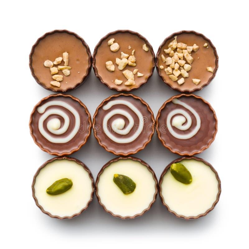 Vários pralines do chocolate imagem de stock royalty free