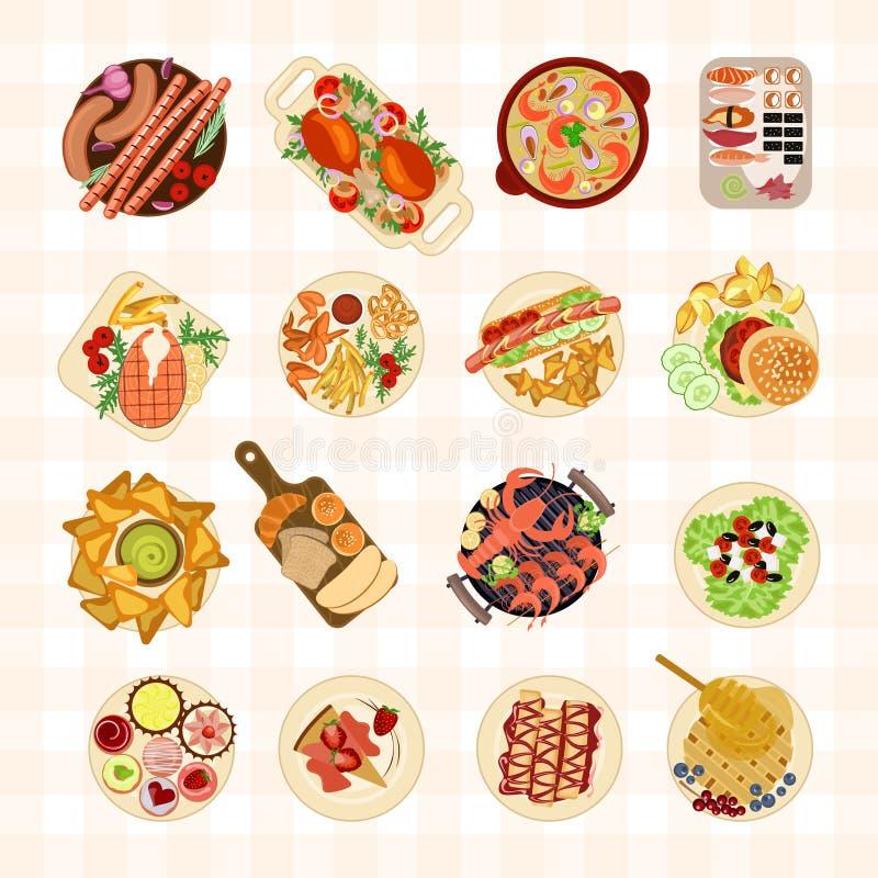 Vários pratos do alimento ilustração stock