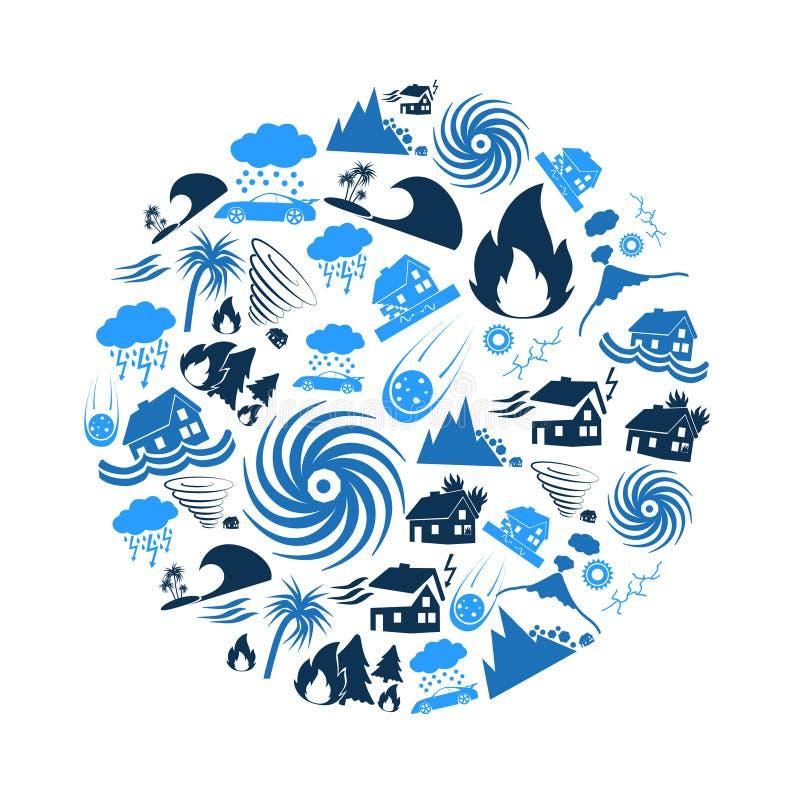 Vários problemas das catástrofes naturais nos ícones azuis do mundo no círculo eps10 ilustração do vetor