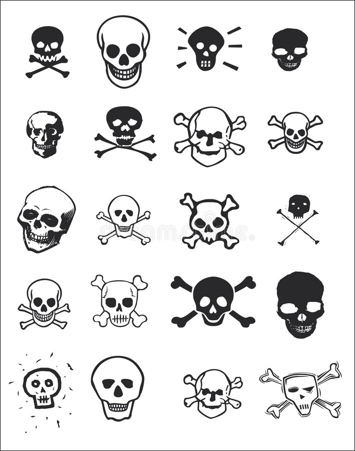 Vários projetos do crânio imagem de stock