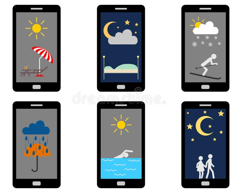 Vários símbolos de tempos e atividades de lazer em Smartphone ilustração royalty free