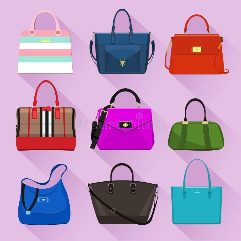 Vários sacos na moda das mulheres com cópias coloridas Estilo liso ilustração stock