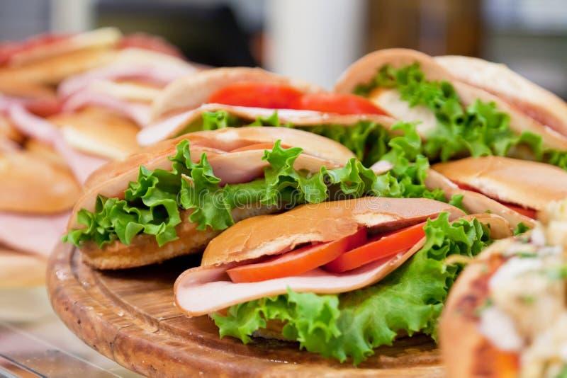 Vários sanduíches fotografia de stock