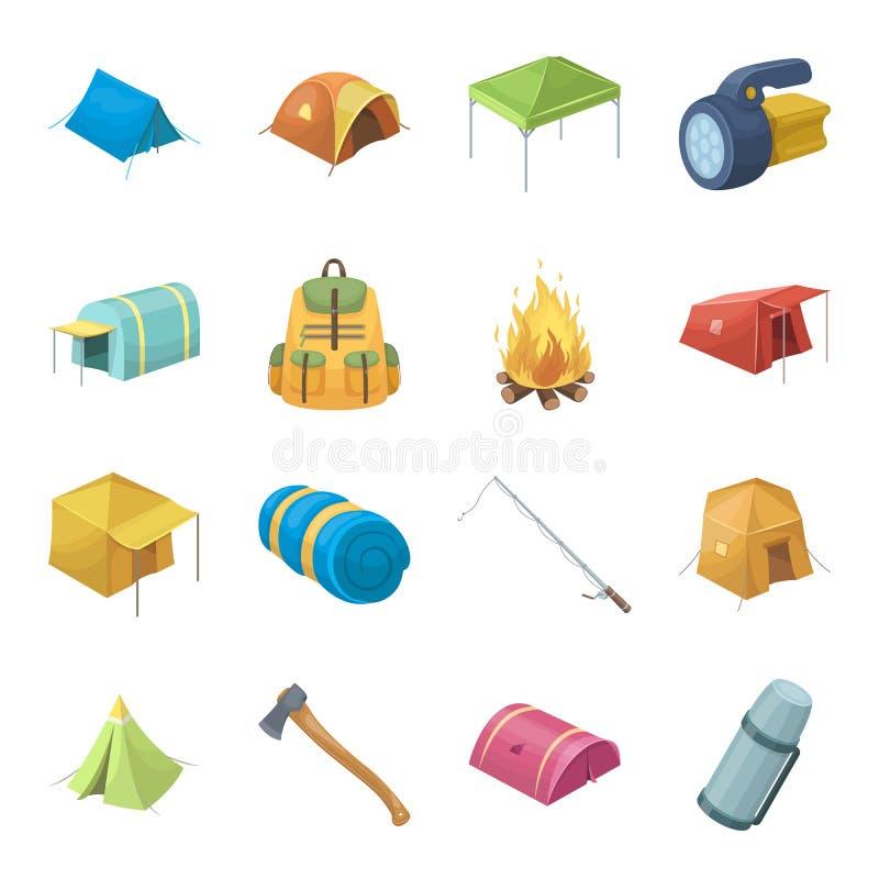 Vários tipos das barracas e dos outros acessórios do turista Os ícones ajustados da coleção da barraca no estilo dos desenhos ani ilustração stock