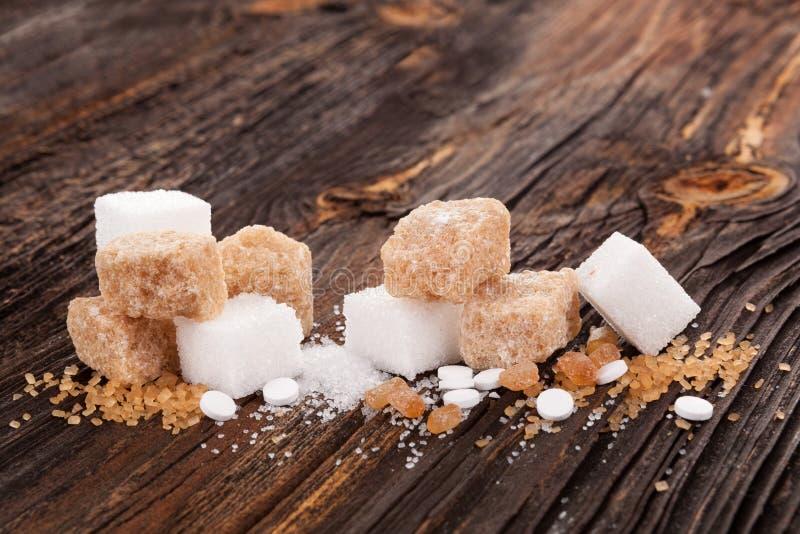 Vários tipos de açúcar imagem de stock