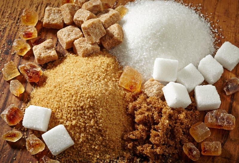 Vários tipos de açúcar fotos de stock