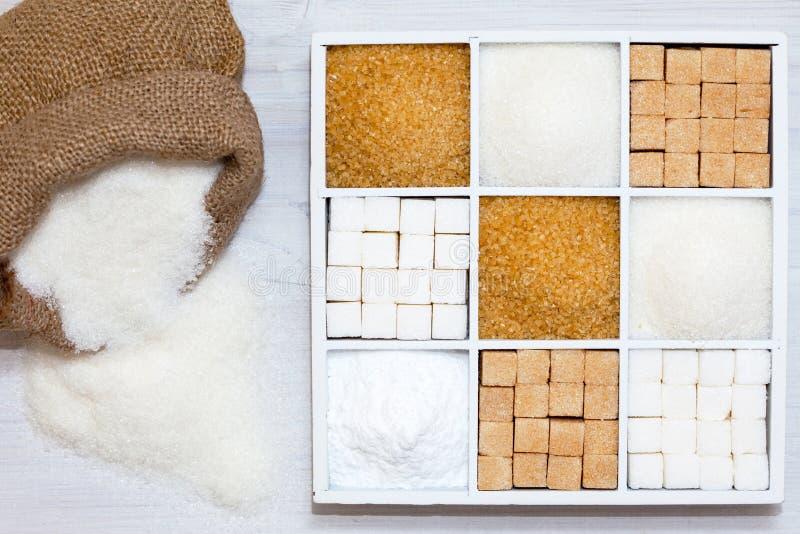 Vários tipos de açúcar imagens de stock