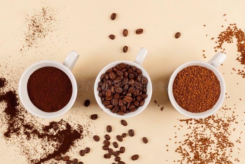Vários tipos de café fotografia de stock