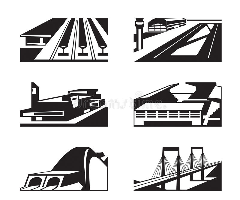 Vários tipos de construções enormes ilustração royalty free