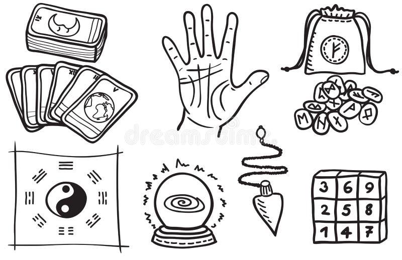 Vários tipos de dizer de fortuna ilustração do vetor