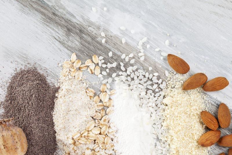 Vários tipos de farinhas fotos de stock
