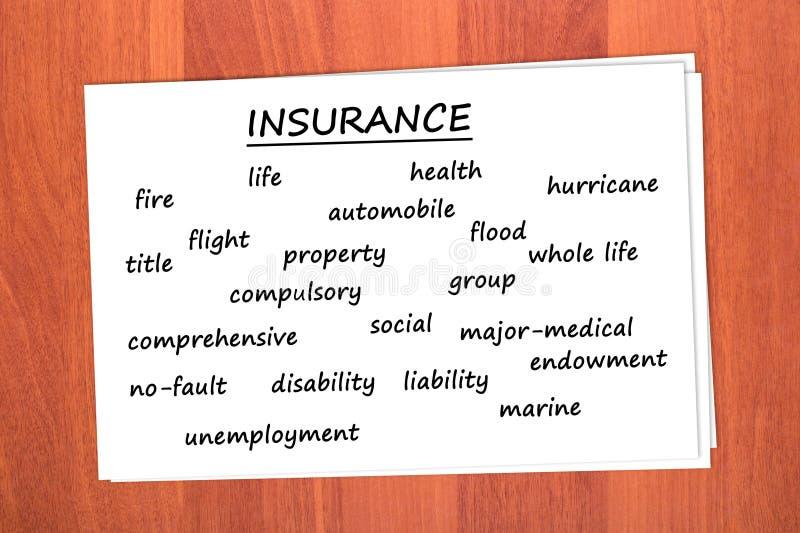 Vários tipos de seguro imagens de stock