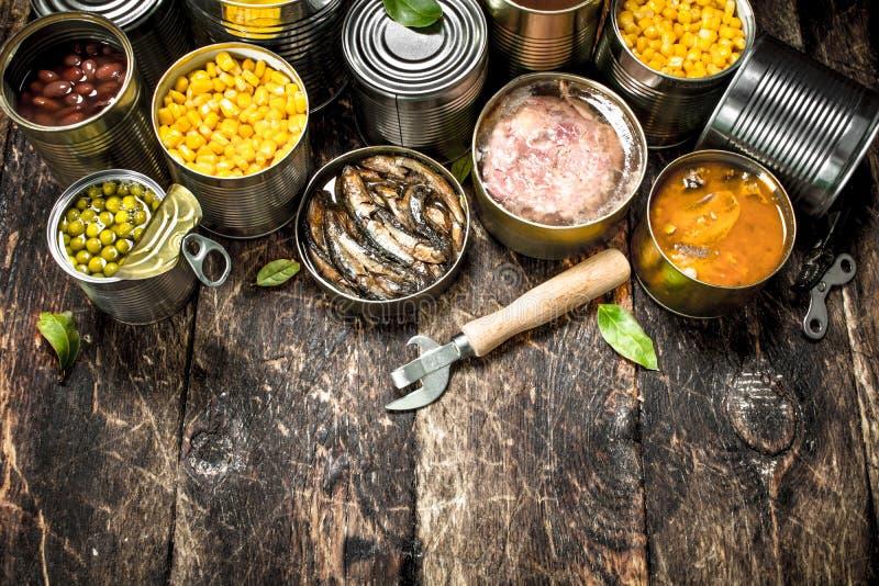 Vários vegetais, carne, peixes e frutos enlatados em umas latas de lata imagem de stock