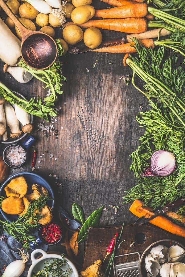 Vários vegetais da colheita dos cogumelos do jardim e da floresta Ingredientes do vegetariano para cozinhar fotos de stock royalty free