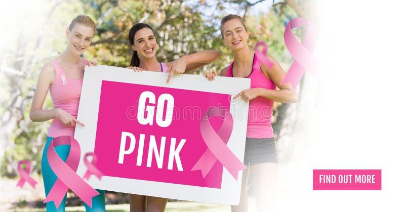 Vão o texto cor-de-rosa e as mulheres cor-de-rosa da conscientização do câncer da mama que guardam o cartão ilustração stock