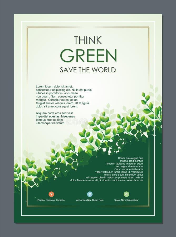 Vão o verde, o inseto de salvaguarda da natureza, a bandeira ou o folheto ilustração do vetor