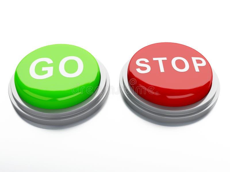 Vão os botões de parada do adnd ilustração 3D ilustração stock