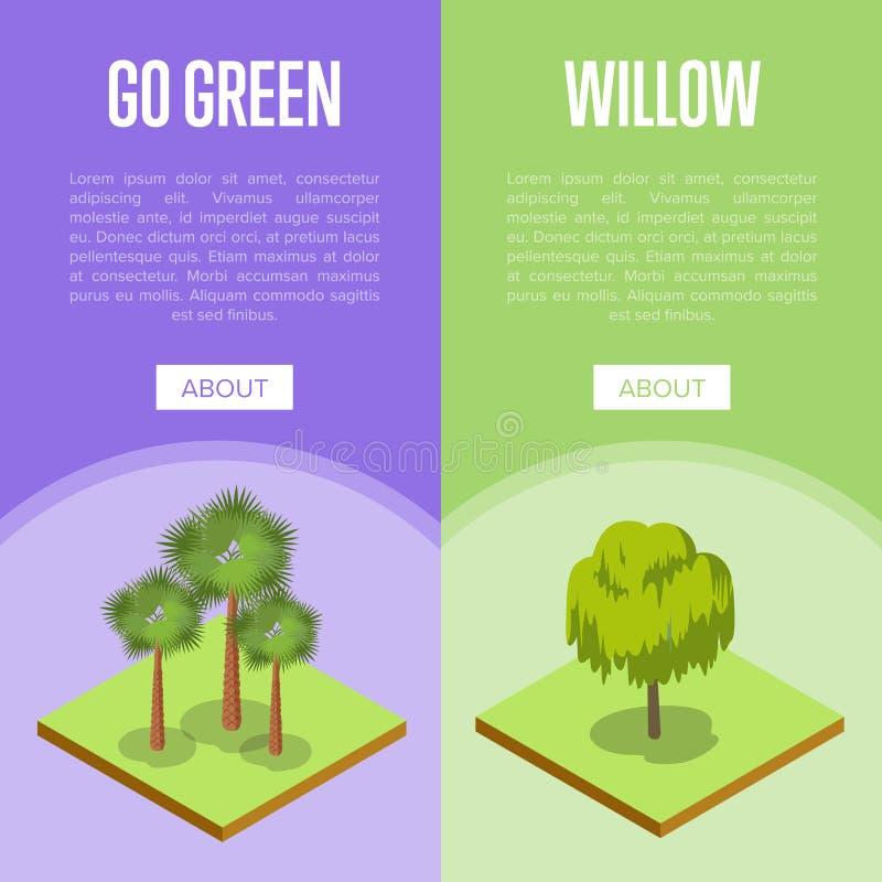 Vão os conceitos verdes com as árvores da palma e de salgueiro ilustração royalty free