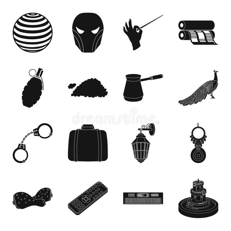 Väder, brott, teater, sport och annan rengöringsduksymbol i svart stil vektor illustrationer