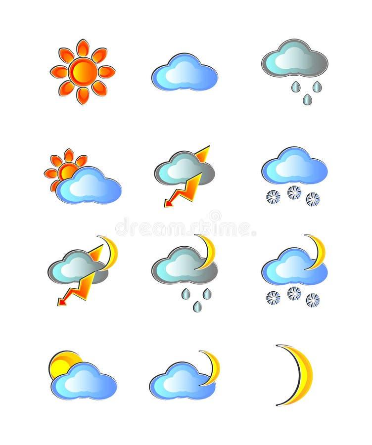 Väder dag, natt som är solig, sol, moln som är molnigt, regn som är regnigt, måne, natt, månad, åskväder, blixt, snö, snöig som ä stock illustrationer