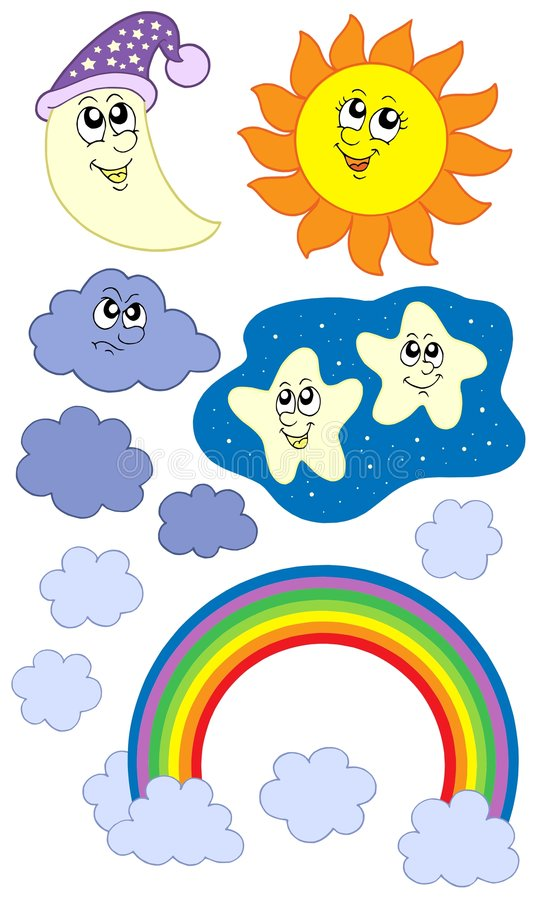 väder för samlingsmoonsun stock illustrationer