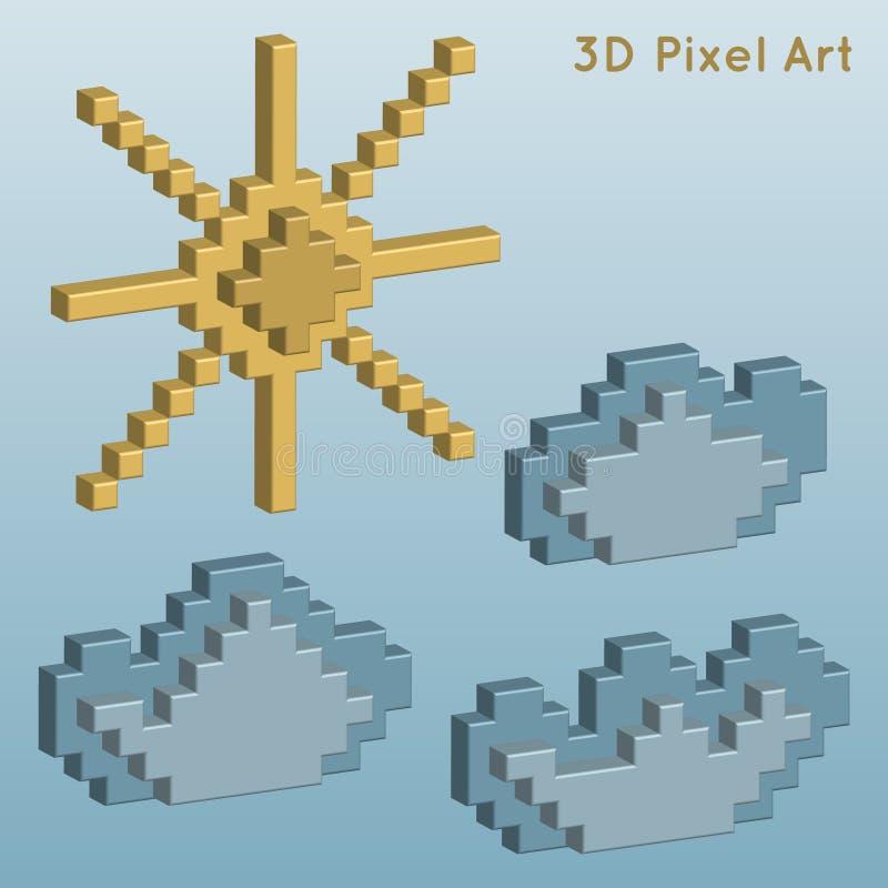 väder för sun för oklarhetssymbolsregn konst för PIXEL 3D stock illustrationer